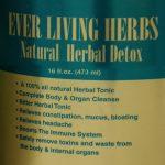 Ever Living Herbs Natural Herbal Detox label 16oz